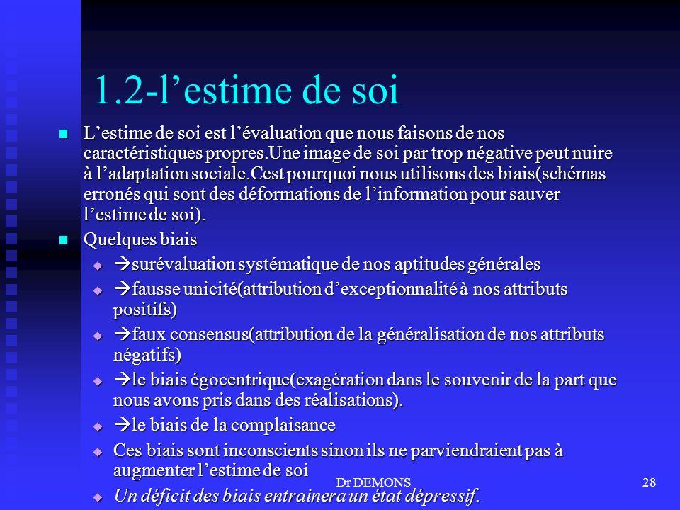 Dr DEMONS28 1.2-lestime de soi Lestime de soi est lévaluation que nous faisons de nos caractéristiques propres.Une image de soi par trop négative peut