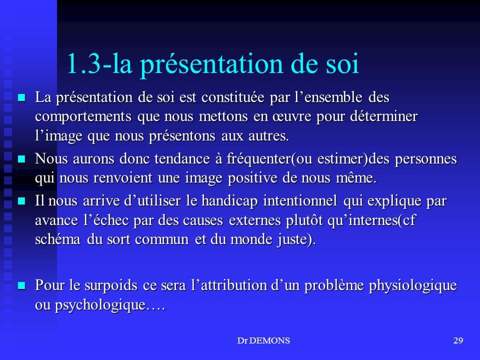 Dr DEMONS29 1.3-la présentation de soi La présentation de soi est constituée par lensemble des comportements que nous mettons en œuvre pour déterminer