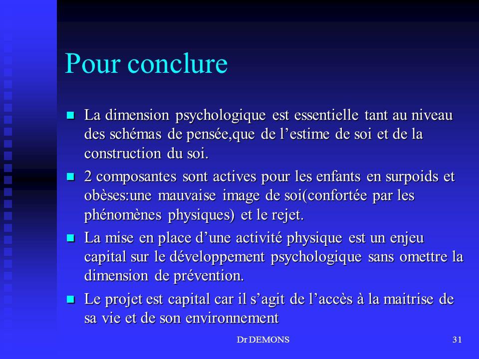 Dr DEMONS31 Pour conclure La dimension psychologique est essentielle tant au niveau des schémas de pensée,que de lestime de soi et de la construction