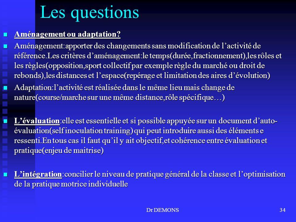 Dr DEMONS34 Les questions Aménagement ou adaptation? Aménagement ou adaptation? Aménagement:apporter des changements sans modification de lactivité de