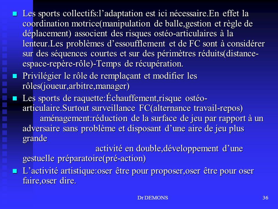 Dr DEMONS36 Les sports collectifs:ladaptation est ici nécessaire.En effet la coordination motrice(manipulation de balle,gestion et règle de déplacemen