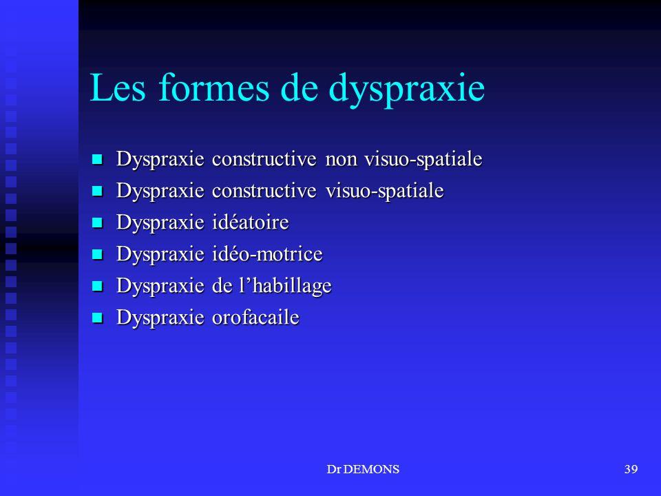 Dr DEMONS39 Les formes de dyspraxie Dyspraxie constructive non visuo-spatiale Dyspraxie constructive non visuo-spatiale Dyspraxie constructive visuo-s
