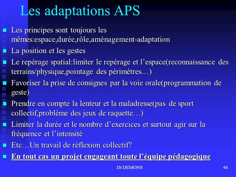 Dr DEMONS46 Les adaptations APS Les principes sont toujours les mêmes:espace,durée,rôle,aménagement-adaptation Les principes sont toujours les mêmes:e