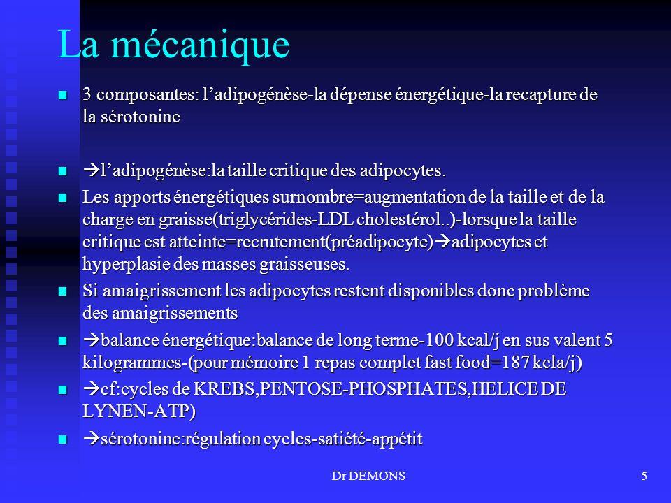 Dr DEMONS5 La mécanique 3 composantes: ladipogénèse-la dépense énergétique-la recapture de la sérotonine 3 composantes: ladipogénèse-la dépense énergé