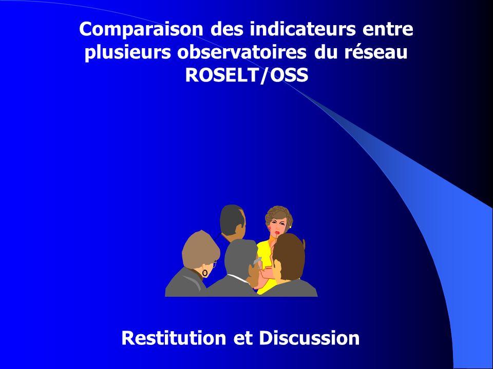 Restitution et Discussion Comparaison des indicateurs entre plusieurs observatoires du réseau ROSELT/OSS