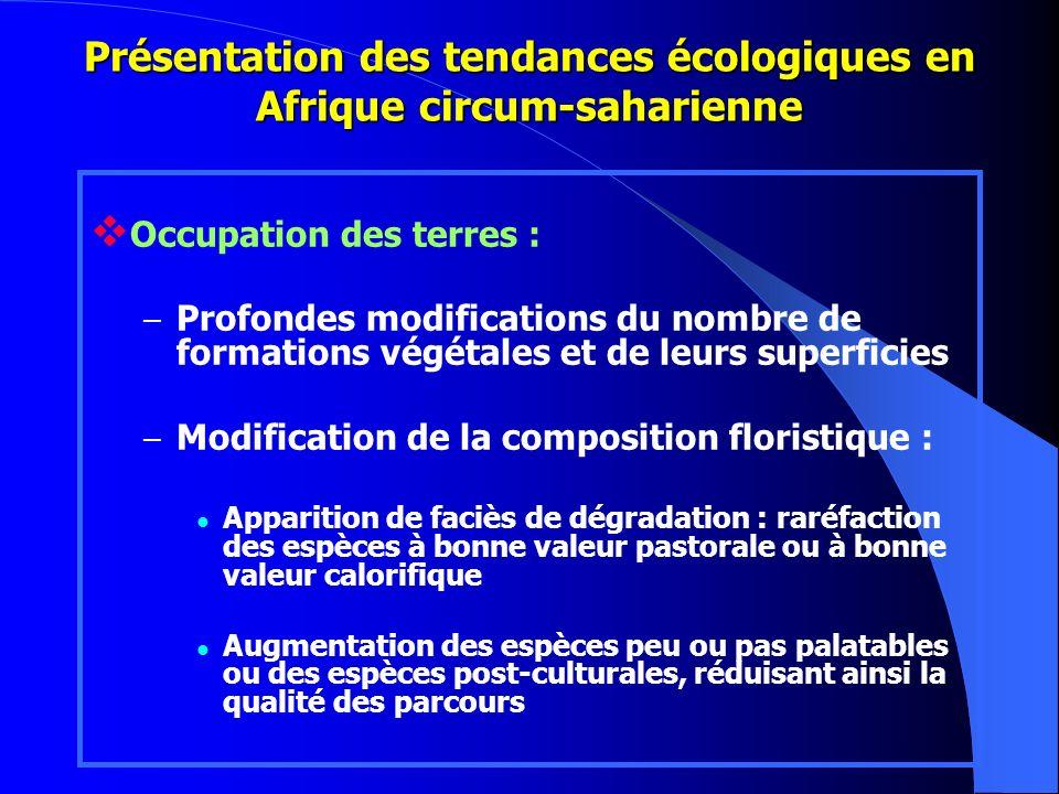 Occupation des terres : – Profondes modifications du nombre de formations végétales et de leurs superficies – Modification de la composition floristiq