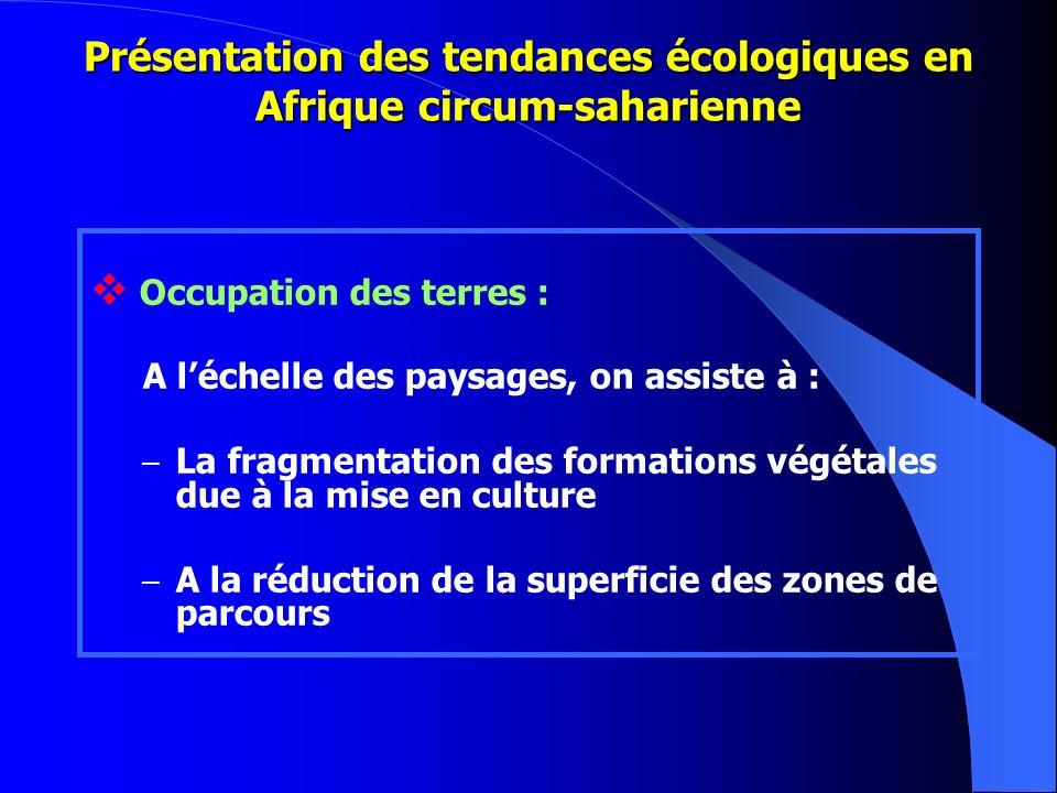 Présentation des tendances écologiques en Afrique circum-saharienne Occupation des terres : A léchelle des paysages, on assiste à : – La fragmentation