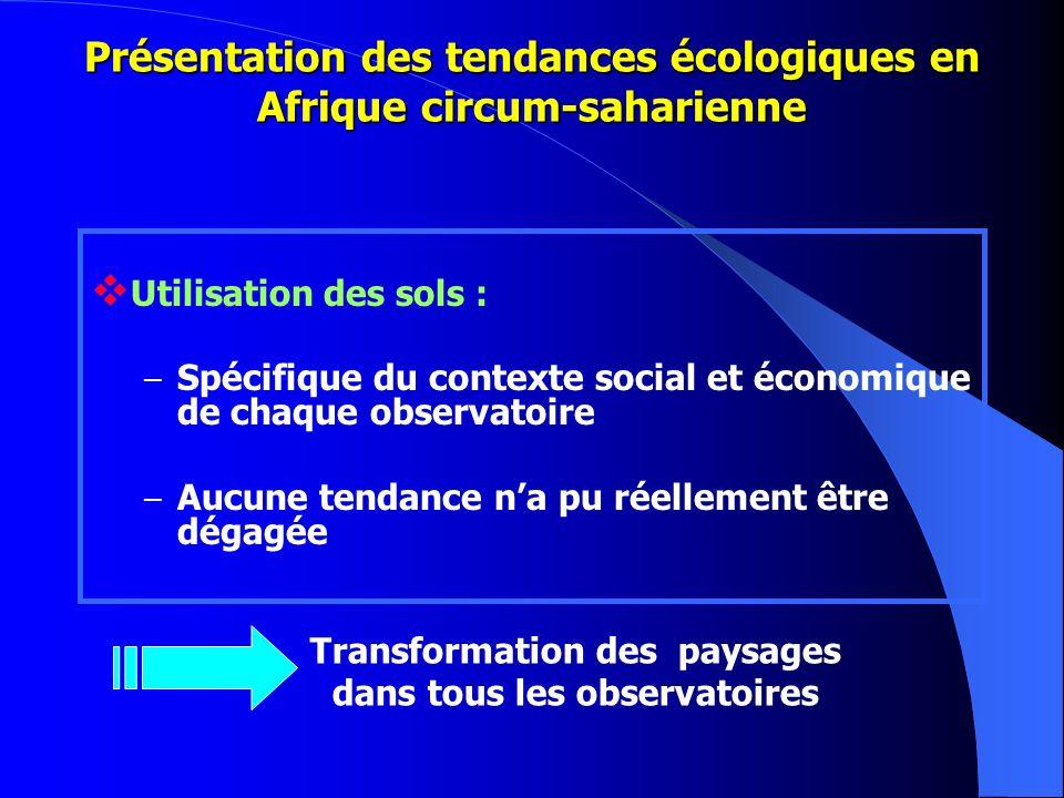 Présentation des tendances écologiques en Afrique circum-saharienne Utilisation des sols : – Spécifique du contexte social et économique de chaque obs