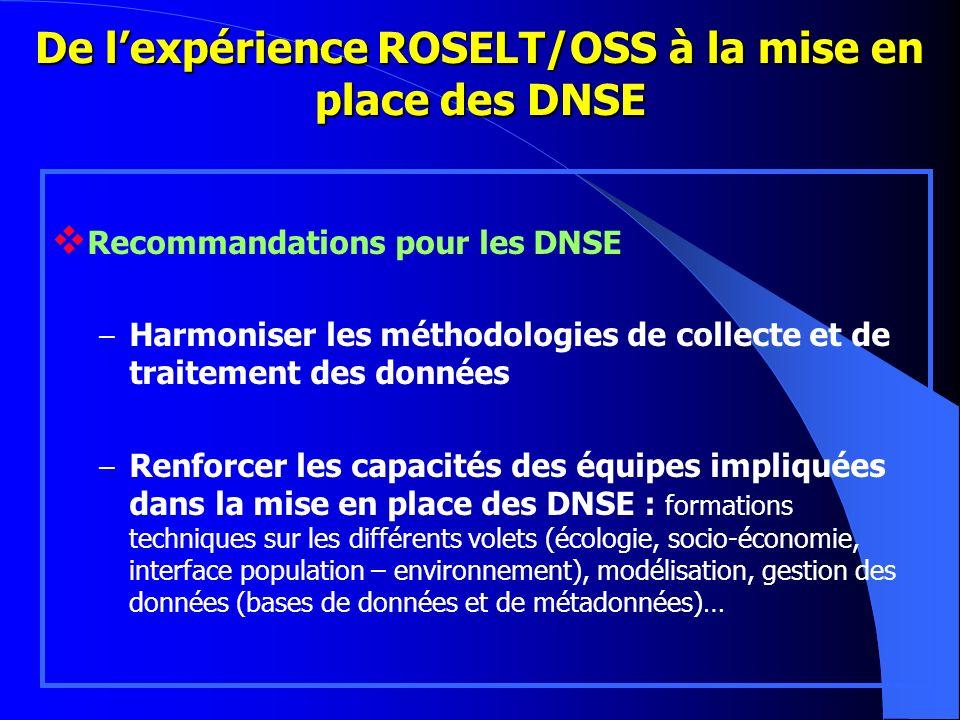 De lexpérience ROSELT/OSS à la mise en place des DNSE Recommandations pour les DNSE – Harmoniser les méthodologies de collecte et de traitement des do