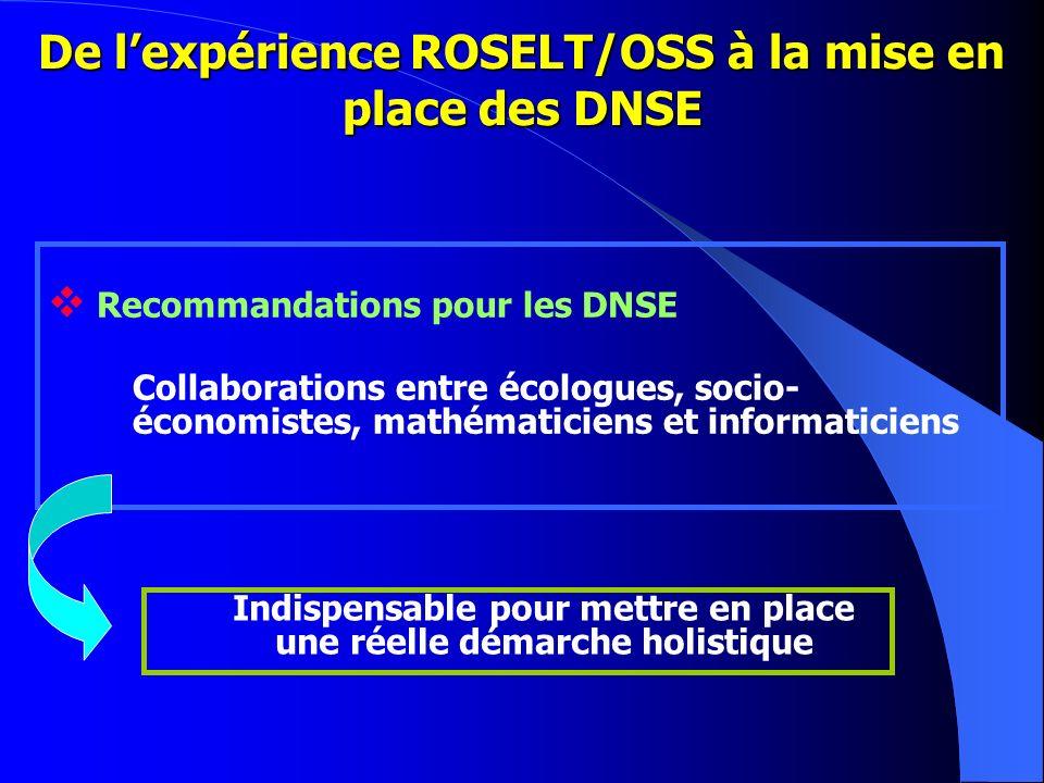 De lexpérience ROSELT/OSS à la mise en place des DNSE Recommandations pour les DNSE Collaborations entre écologues, socio- économistes, mathématiciens