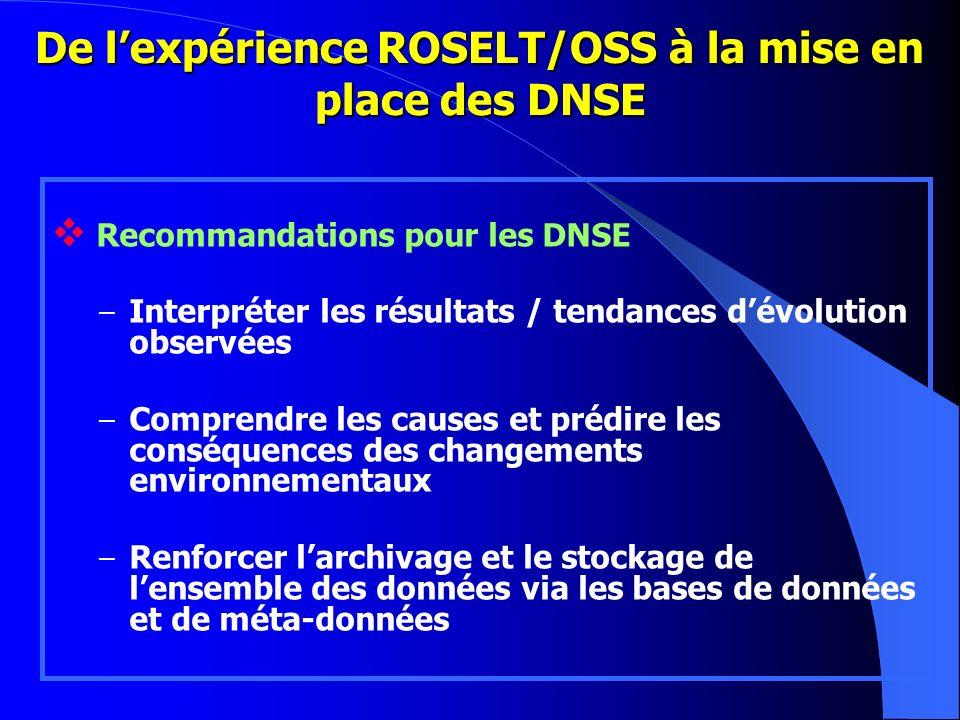 De lexpérience ROSELT/OSS à la mise en place des DNSE Recommandations pour les DNSE – Interpréter les résultats / tendances dévolution observées – Com