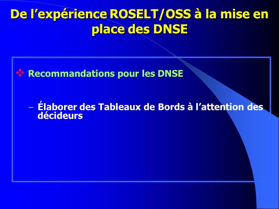 De lexpérience ROSELT/OSS à la mise en place des DNSE Recommandations pour les DNSE – Élaborer des Tableaux de Bords à lattention des décideurs
