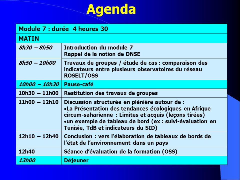 Agenda Module 7 : durée 4 heures 30 MATIN 8h30 – 8h50Introduction du module 7 Rappel de la notion de DNSE 8h50 – 10h00Travaux de groupes / étude de ca