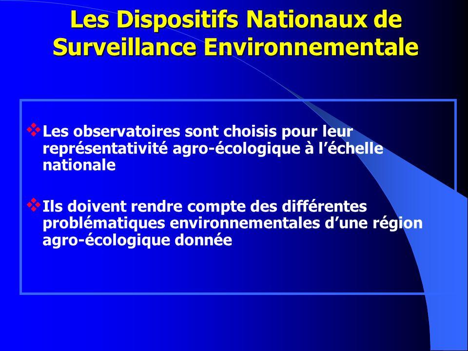 Les observatoires sont choisis pour leur représentativité agro-écologique à léchelle nationale Ils doivent rendre compte des différentes problématique