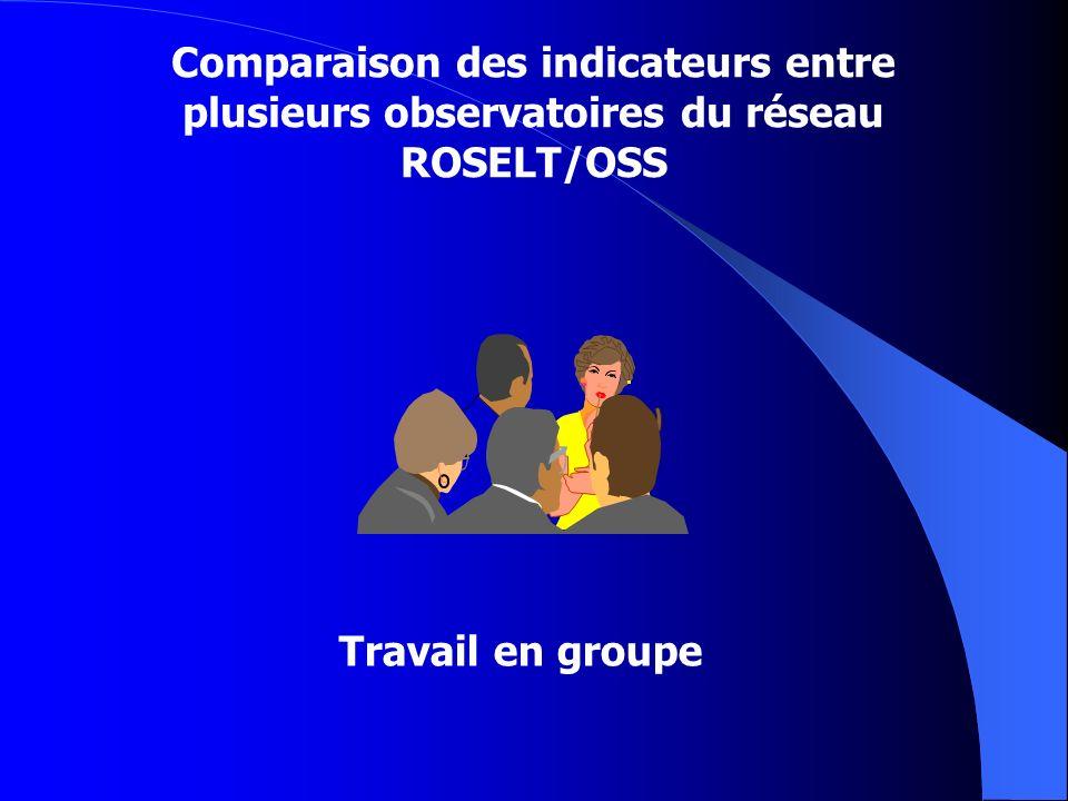 Comparaison des indicateurs entre plusieurs observatoires du réseau ROSELT/OSS Travail en groupe
