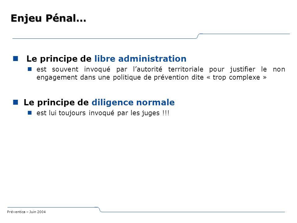 Préventica – Juin 2004 Enjeu Pénal… Le principe de libre administration est souvent invoqué par lautorité territoriale pour justifier le non engagemen
