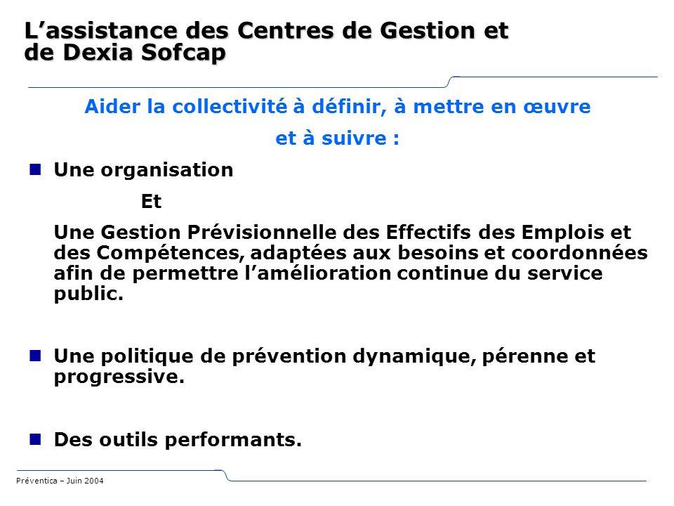 Préventica – Juin 2004 Aider la collectivité à définir, à mettre en œuvre et à suivre : Une organisation Et Une Gestion Prévisionnelle des Effectifs d
