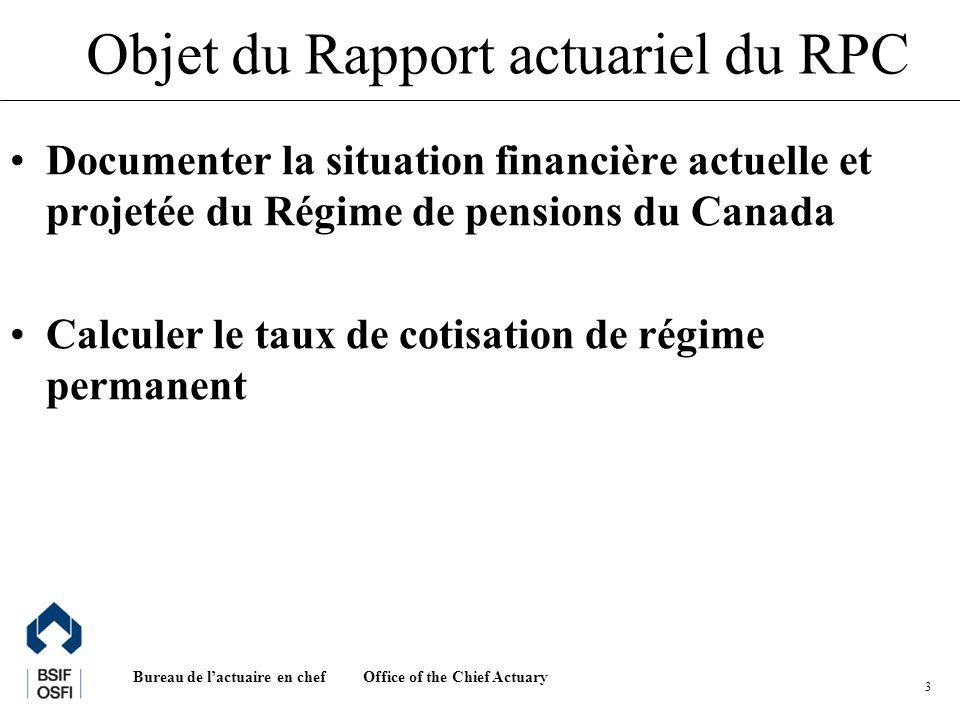 Office of the Chief Actuary Bureau de lactuaire en chef 3 Objet du Rapport actuariel du RPC Documenter la situation financière actuelle et projetée du Régime de pensions du Canada Calculer le taux de cotisation de régime permanent