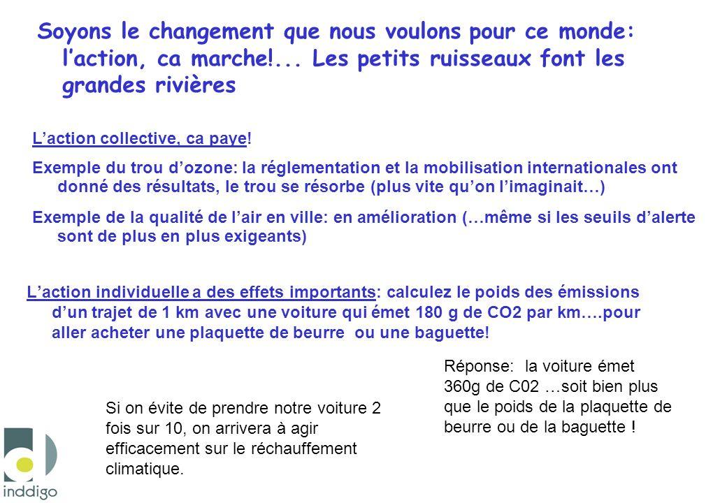 Laction individuelle a des effets importants: calculez le poids des émissions dun trajet de 1 km avec une voiture qui émet 180 g de CO2 par km….pour a
