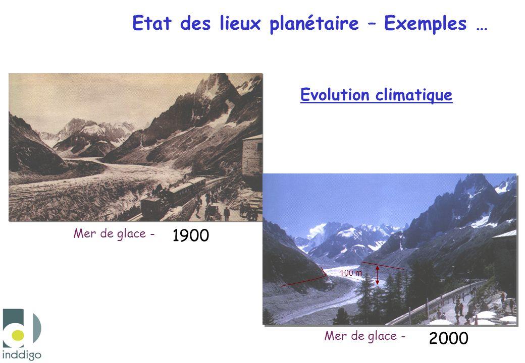 Evolution climatique Mer de glace - Etat des lieux planétaire – Exemples … 1900 2000 100 m