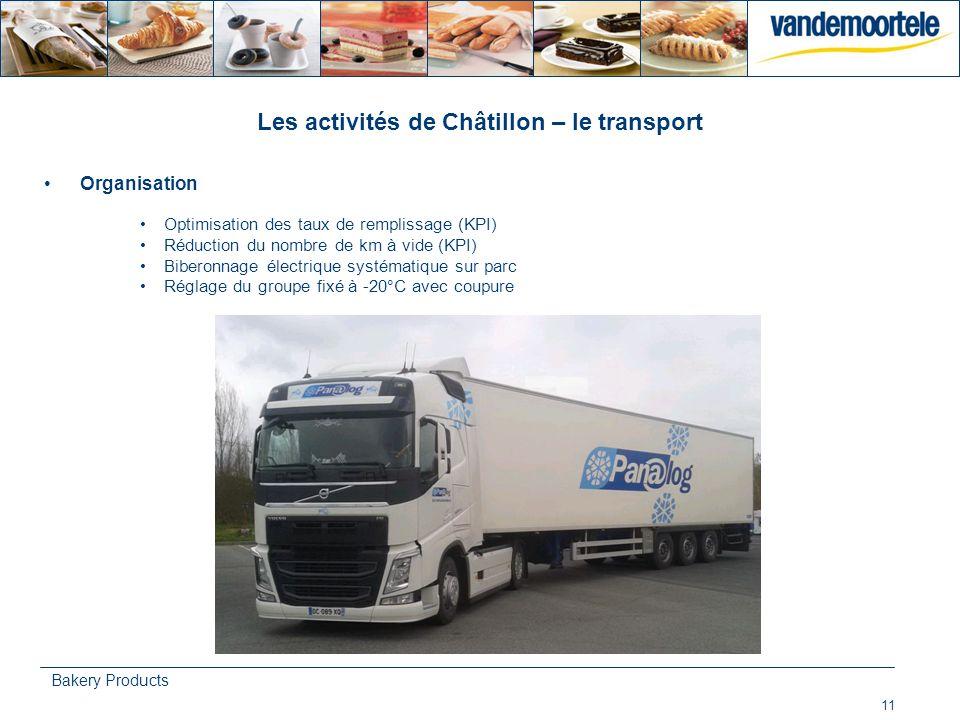 11 Bakery Products Les activités de Châtillon – le transport Organisation Optimisation des taux de remplissage (KPI) Réduction du nombre de km à vide