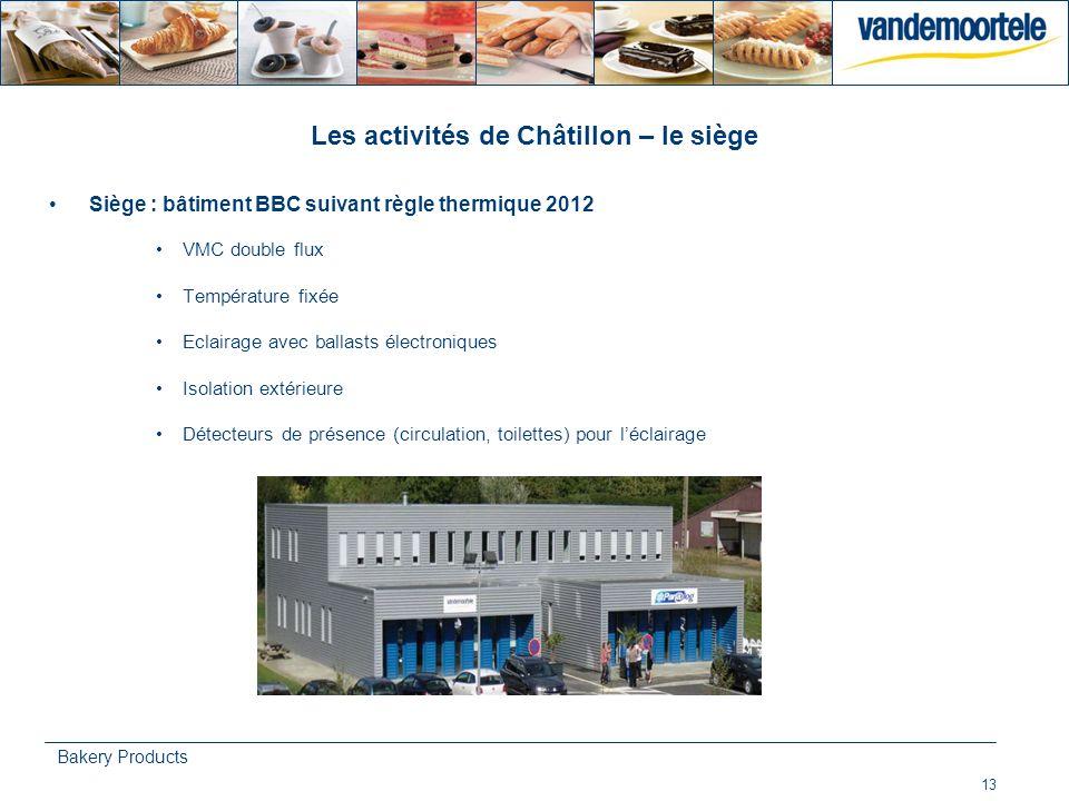 13 Bakery Products Les activités de Châtillon – le siège Siège : bâtiment BBC suivant règle thermique 2012 VMC double flux Température fixée Eclairage