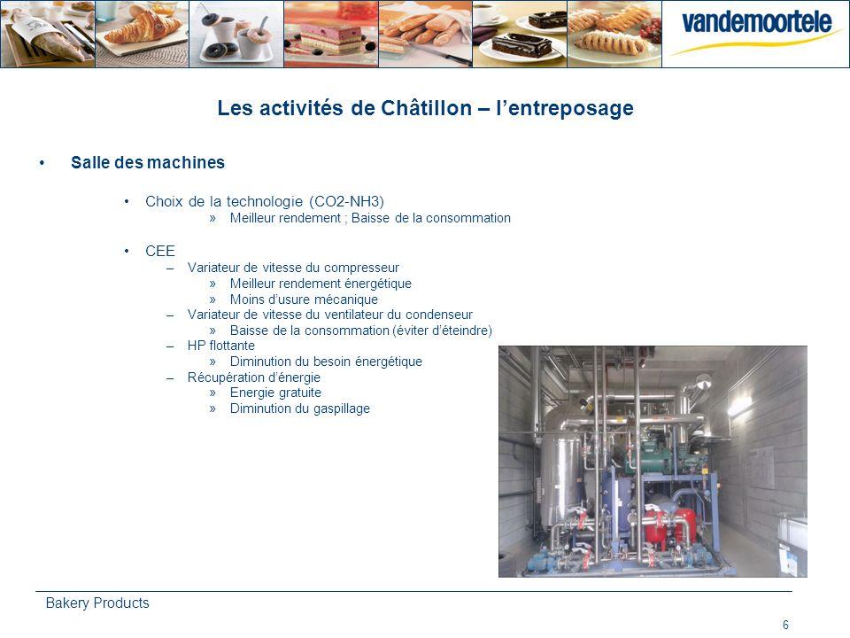 6 Bakery Products Les activités de Châtillon – lentreposage Salle des machines Choix de la technologie (CO2-NH3) »Meilleur rendement ; Baisse de la co