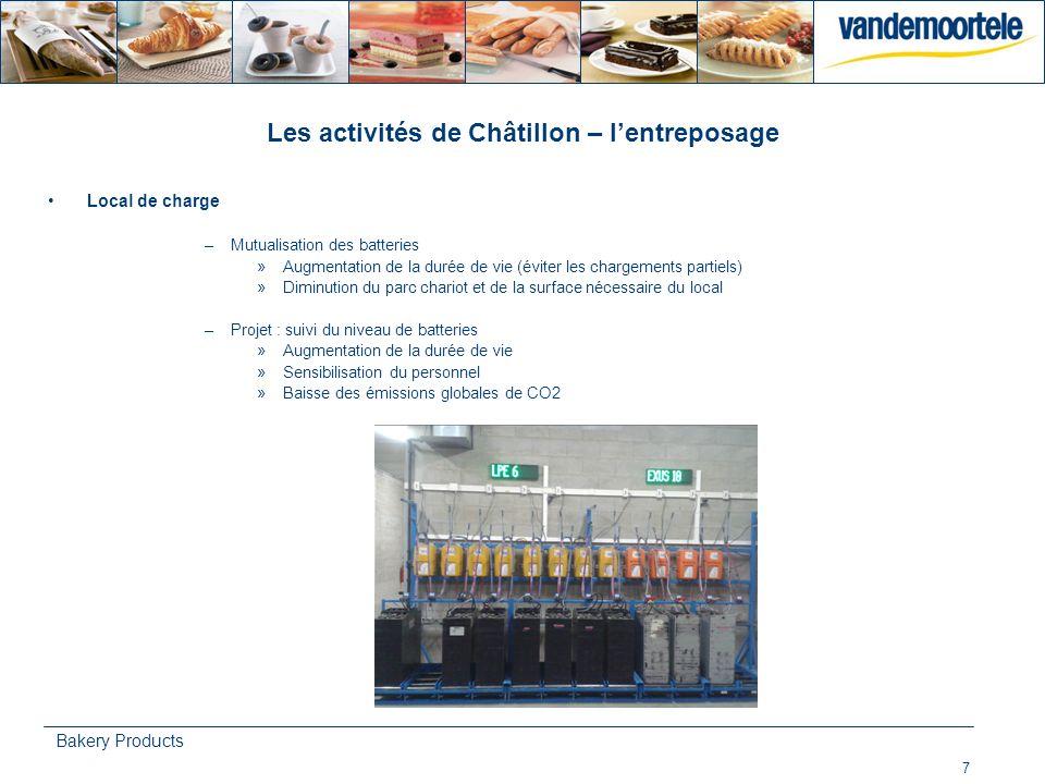 7 Bakery Products Les activités de Châtillon – lentreposage Local de charge –Mutualisation des batteries »Augmentation de la durée de vie (éviter les