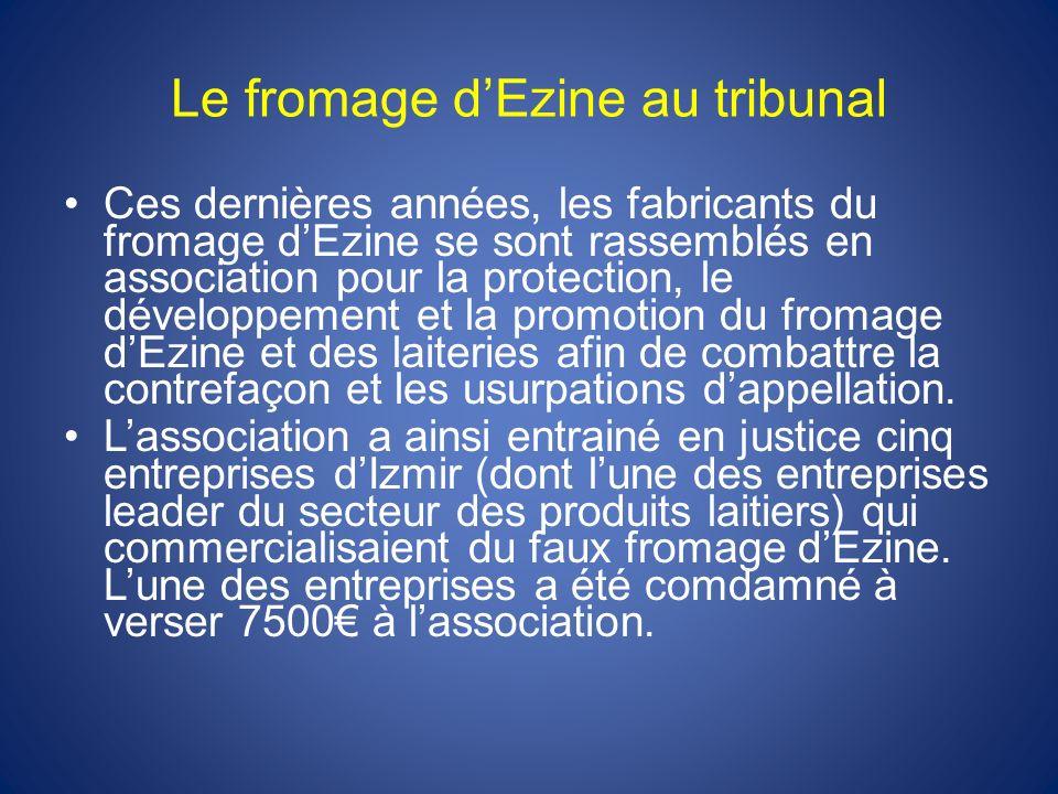Le fromage dEzine au tribunal Ces dernières années, les fabricants du fromage dEzine se sont rassemblés en association pour la protection, le développ