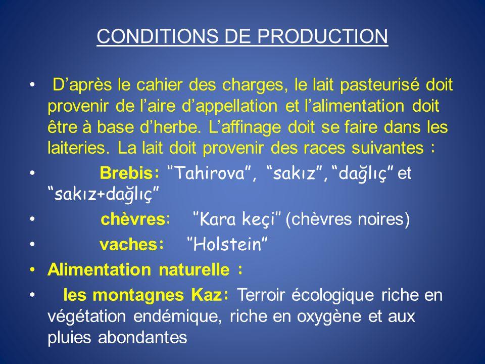 CONDITIONS DE PRODUCTION Daprès le cahier des charges, le lait pasteurisé doit provenir de laire dappellation et lalimentation doit être à base dherbe