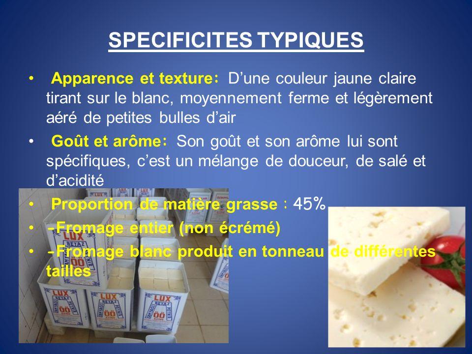 SPECIFICITES TYPIQUES Apparence et texture : Dune couleur jaune claire tirant sur le blanc, moyennement ferme et légèrement aéré de petites bulles dai