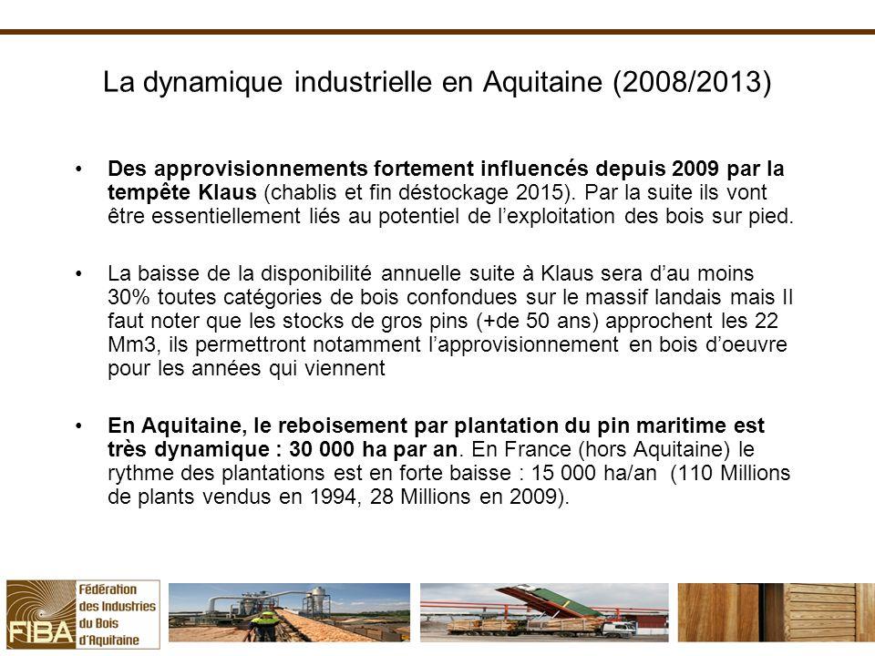 La dynamique industrielle en Aquitaine (2008/2013) Des approvisionnements fortement influencés depuis 2009 par la tempête Klaus (chablis et fin déstockage 2015).