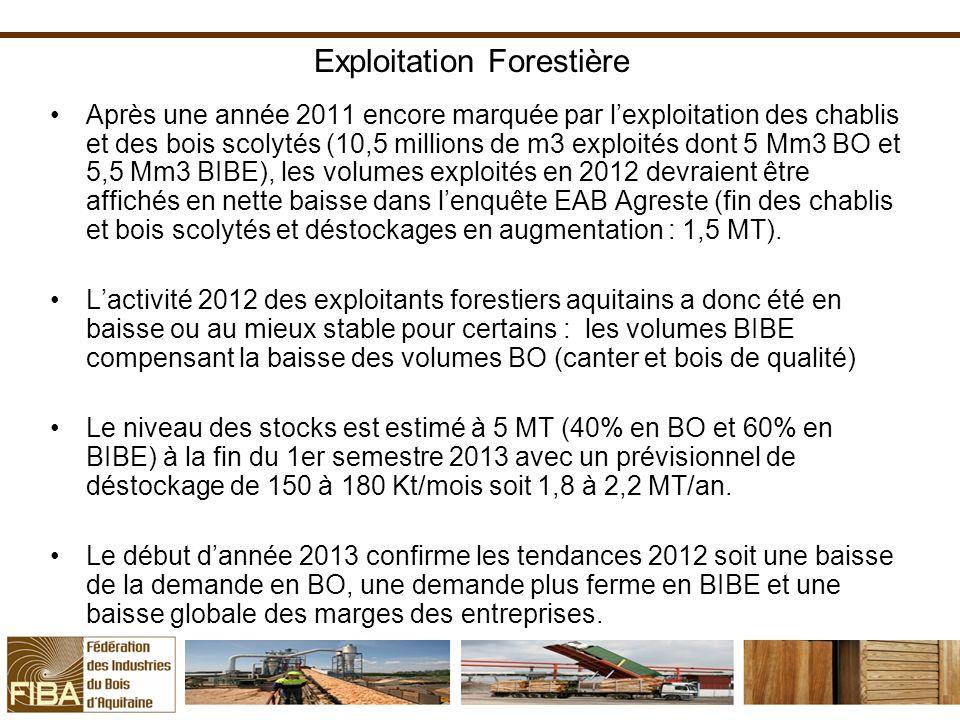 Exploitation Forestière Après une année 2011 encore marquée par lexploitation des chablis et des bois scolytés (10,5 millions de m3 exploités dont 5 Mm3 BO et 5,5 Mm3 BIBE), les volumes exploités en 2012 devraient être affichés en nette baisse dans lenquête EAB Agreste (fin des chablis et bois scolytés et déstockages en augmentation : 1,5 MT).