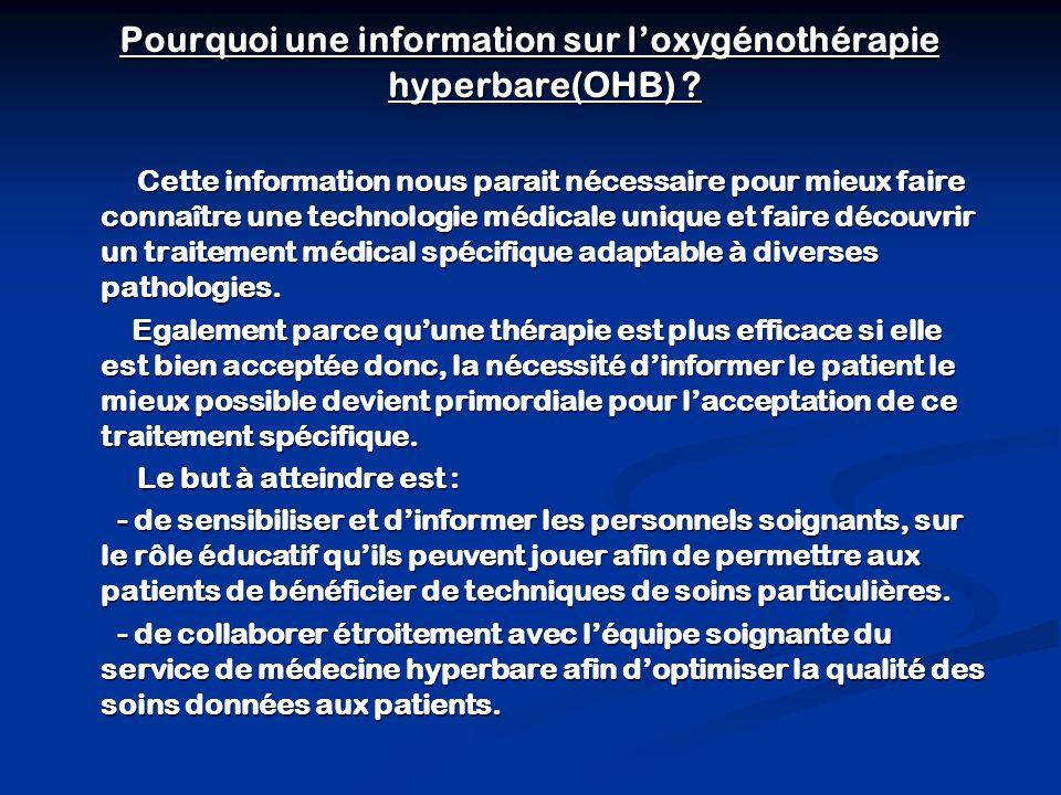 Pourquoi une information sur loxygénothérapie hyperbare(OHB) .