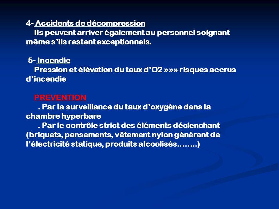 4- Accidents de décompression Ils peuvent arriver également au personnel soignant même sils restent exceptionnels.