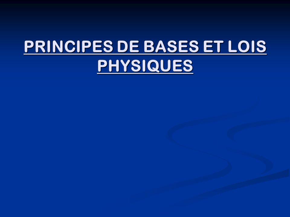 PRINCIPES DE BASES ET LOIS PHYSIQUES
