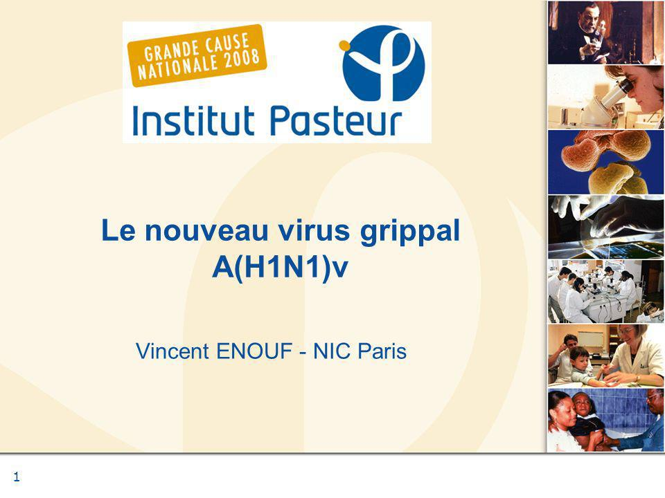 Vincent ENOUF - NIC of PARIS Technique de détection - RT-PCR RT-PCR en temps réel : M : virus grippal de type A H1v et N1v : virus grippal de type A(H1N1)v GAPDH : gène de ménage afin de vérifier la qualité du prélèvement Exclusion des cas saisonniers : H1N1 et H3N2 : virus grippaux saisonniers Seuil de sensibilité similaire entre PCR M et H1N1v : Cp H1v : 18,32 - 35,88 CP M : 18,7 - 37,74