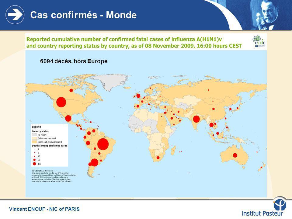 Vincent ENOUF - NIC of PARIS Cas confirmés - Monde 6094 décès, hors Europe