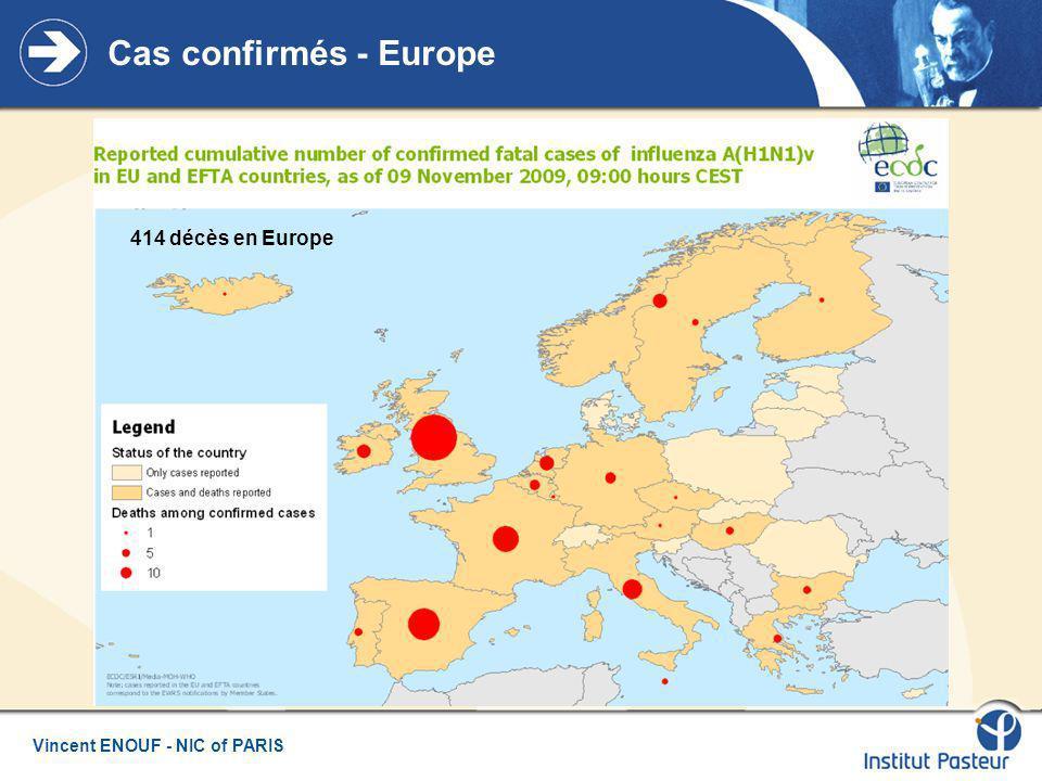 Vincent ENOUF - NIC of PARIS Diffusion du virus en Europe 414 décès en Europe dont : - 154 Angleterre - 73 Espagne - 25 Italie - 30 France