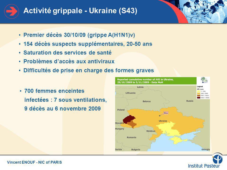 Vincent ENOUF - NIC of PARIS Aspects épidémiologiques - France Métropole InVS - bulletin épidémiologique 3 novembre 2009