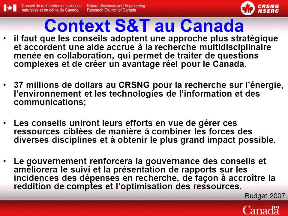 Context S&T au Canada il faut que les conseils adoptent une approche plus stratégique et accordent une aide accrue à la recherche multidisciplinaire menée en collaboration, qui permet de traiter de questions complexes et de créer un avantage réel pour le Canada.