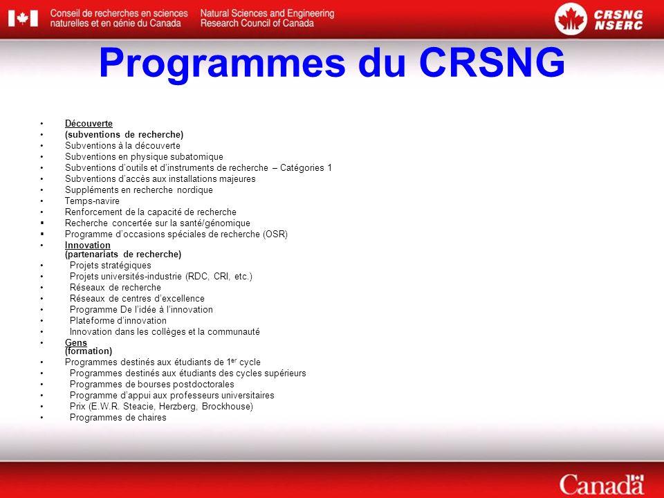 Programmes du CRSNG Découverte (subventions de recherche) Subventions à la découverte Subventions en physique subatomique Subventions doutils et dinst