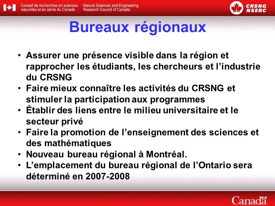 Bureaux régionaux Assurer une présence visible dans la région et rapprocher les étudiants, les chercheurs et lindustrie du CRSNG Faire mieux connaître