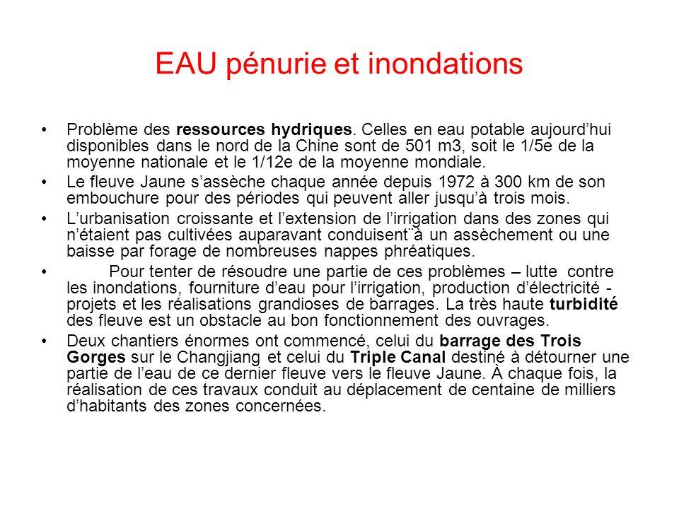 EAU pénurie et inondations Problème des ressources hydriques. Celles en eau potable aujourdhui disponibles dans le nord de la Chine sont de 501 m3, so