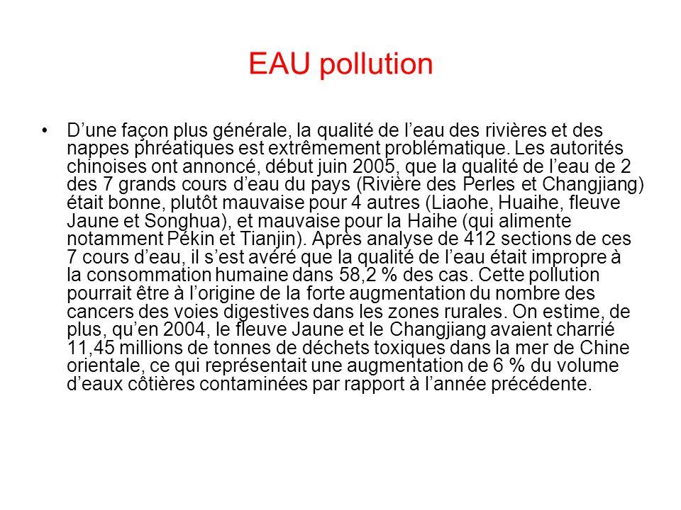 EAU pollution Dune façon plus générale, la qualité de leau des rivières et des nappes phréatiques est extrêmement problématique. Les autorités chinois