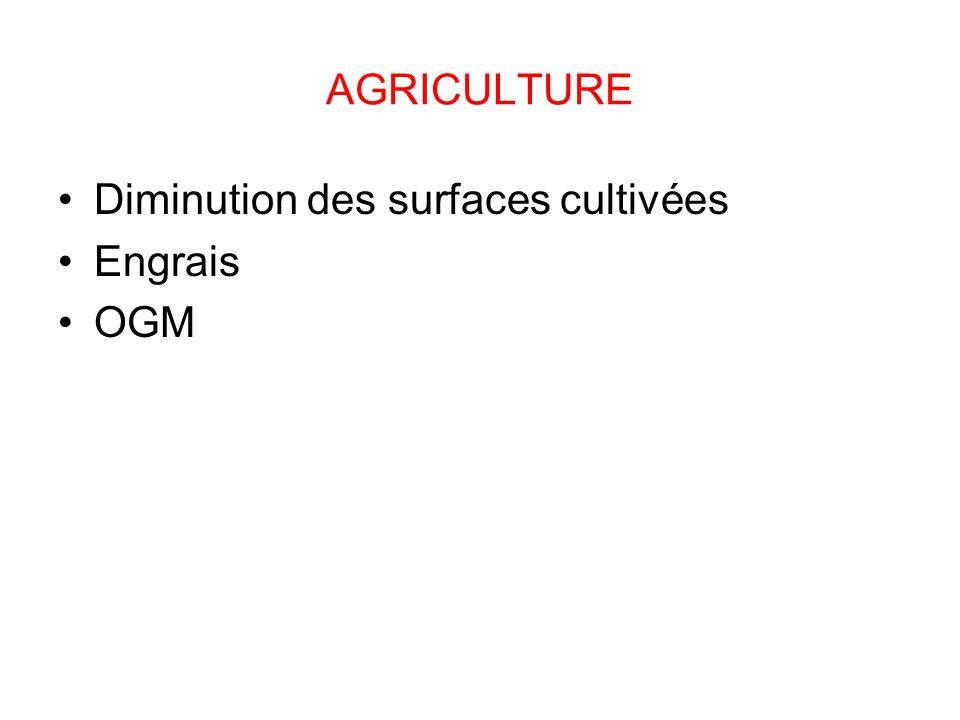 AGRICULTURE Diminution des surfaces cultivées Engrais OGM