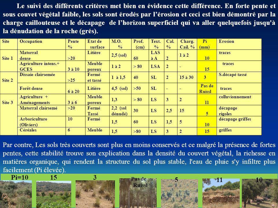Le suivi des différents critères met bien en évidence cette différence. En forte pente et sous couvet végétal faible, les sols sont érodés par lérosio
