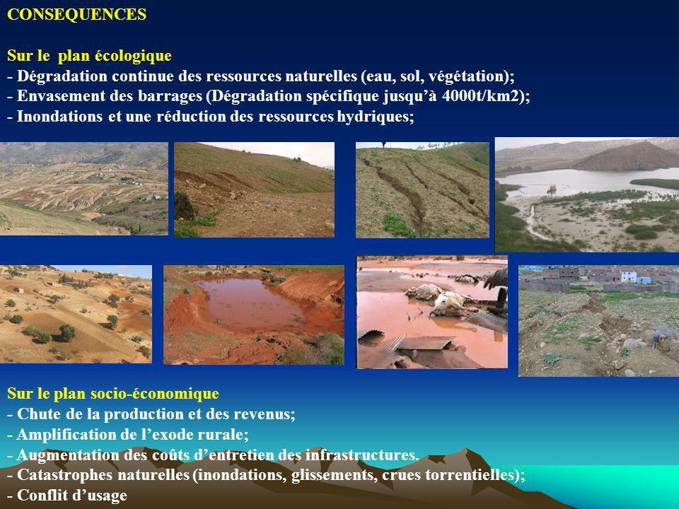 CONSEQUENCES Sur le plan écologique - Dégradation continue des ressources naturelles (eau, sol, végétation); - Envasement des barrages (Dégradation sp