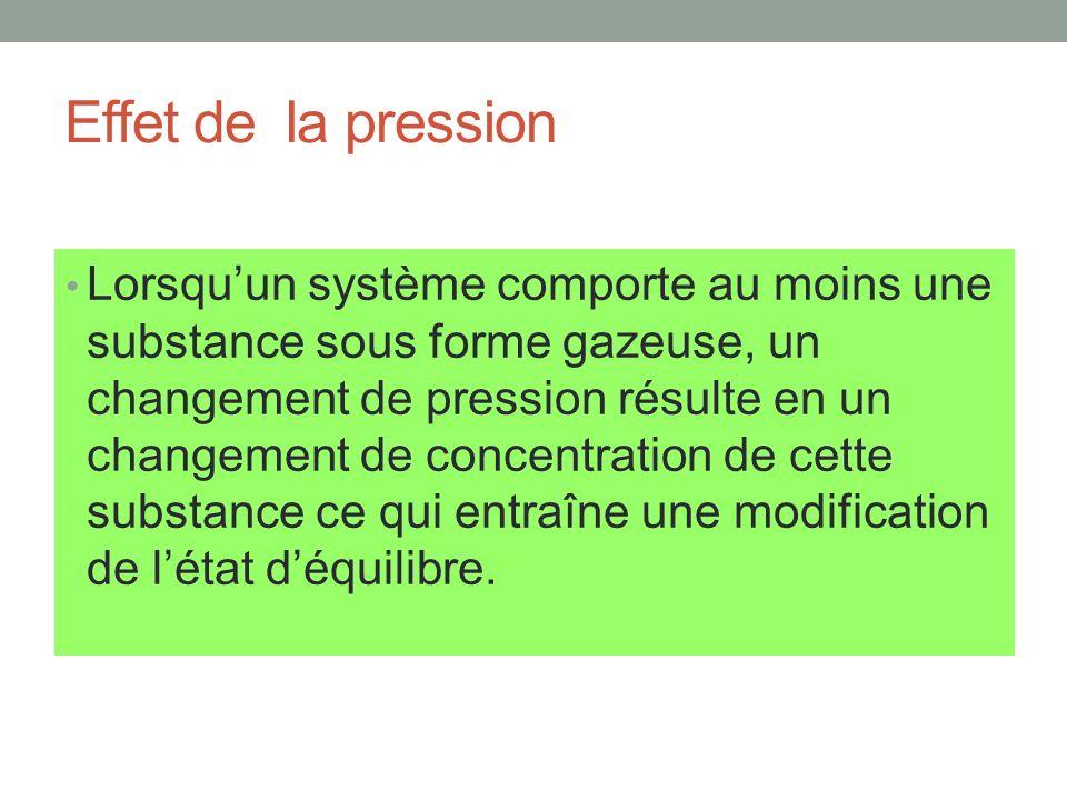 Effet de la pression Lorsquun système comporte au moins une substance sous forme gazeuse, un changement de pression résulte en un changement de concen