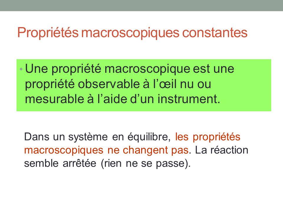 Propriétés macroscopiques constantes Une propriété macroscopique est une propriété observable à lœil nu ou mesurable à laide dun instrument. Dans un s